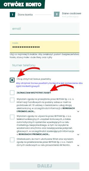 Betfan rejestracja - 1. ekran formularza