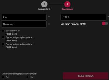 Rejestracja w BetX - 2. krok