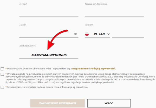 Rejestracja w Noblebet - 2. krok