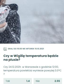 Zakłady na pogodę w Betfan - temperatura
