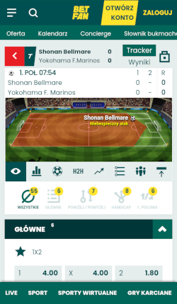Aplikacja bukmacherska Betfan - match-tracker