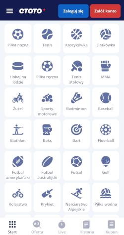 Aplikacja bukmacherska Etoto