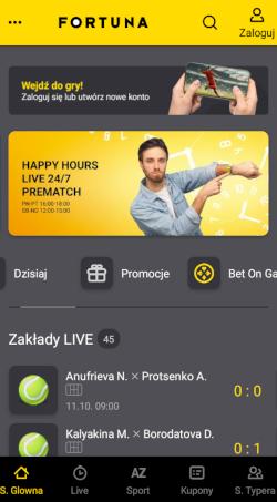 Aplikacja bukmacherska Fortuny